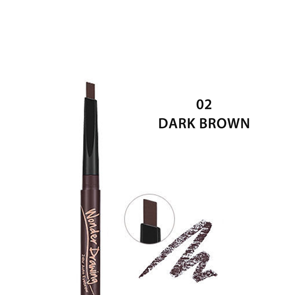 Holika Holika Wonder Drawing 24hr Auto Eyebrow 2 Dark Brown Free